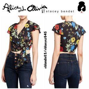 "Alice + Olivia ""Zabel"" floral cropped wrap top 0"